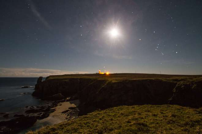 Moon and stars at Noss Head Lighthouse