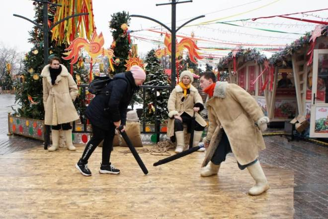 Maslenitsa games in Moscow Russia