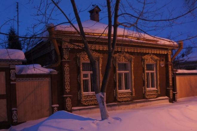 Wooden house at night in Kolomna Russia
