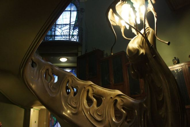 Art Nouveau staircase at the Shekhtel House where Gorky lived Moscow