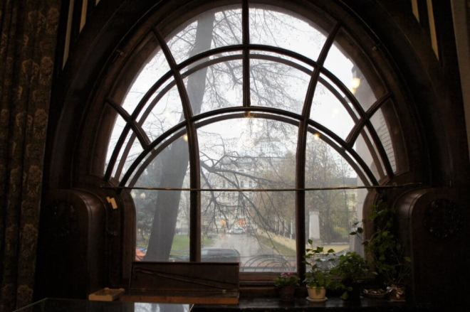 Art Nouveau window at the Shekhtel House in Moscow