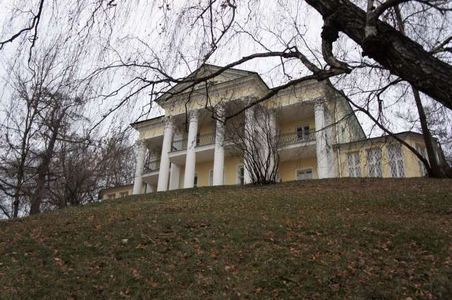 A classical looking yellow and white  building with a columned frontage sits on top of a steep hill covered in brown autumn leaves. The trunk of a willow tree leans in from the left, and dangles its thin branches down from the top of the picture.