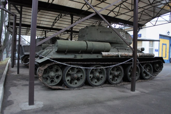A T-34 tank in the grounds of MosFilm Studio