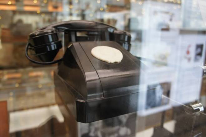 Single number black telephone at the Museum of Telephone History Moscow
