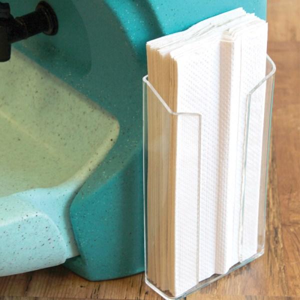 Towel holder for mobile sinks