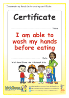 Wash hands before eating certificate for children by Kiddiwash