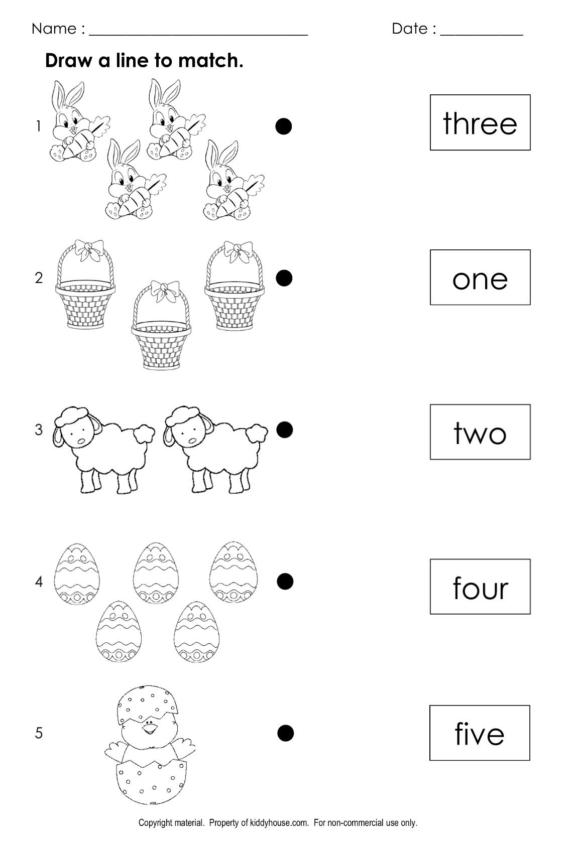 Free Easter Number Word Matching Worksheet