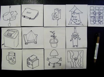 依據紙條藏匿的地點,繪製物品外觀(也可以文字敘述替代,讓孩子猜謎)