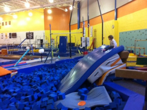 A favorite: Sliding into the foam pit