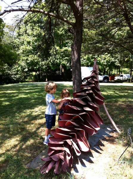 Checking out the giant pine cone