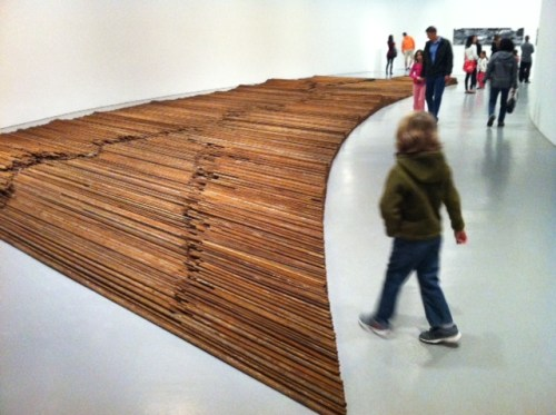 """Nearly 40 tons of salvaged rebar from the Sichuan earthquake comprise """"Straight"""""""