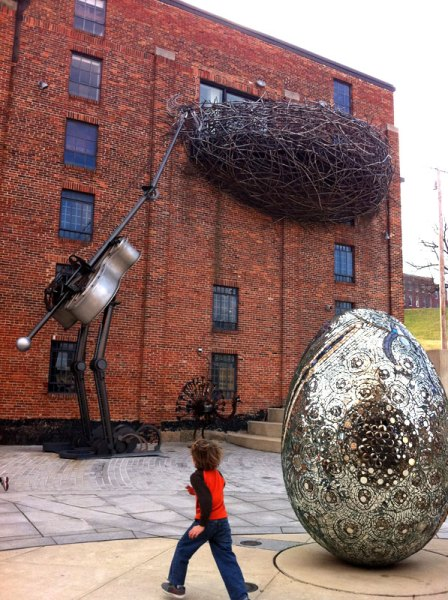 See quirky works both indoor and out at the American Visionary Art Museum