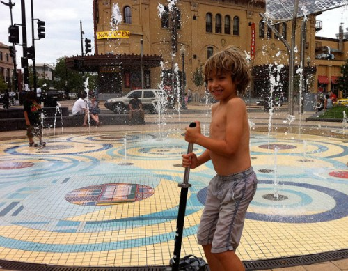 Cooling off in the Columbia Heights fountain last summer
