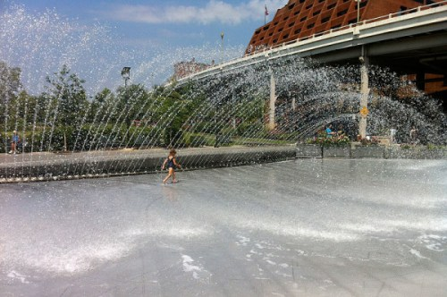 The fountain at Georgetown Waterfront Park, a summer favorite
