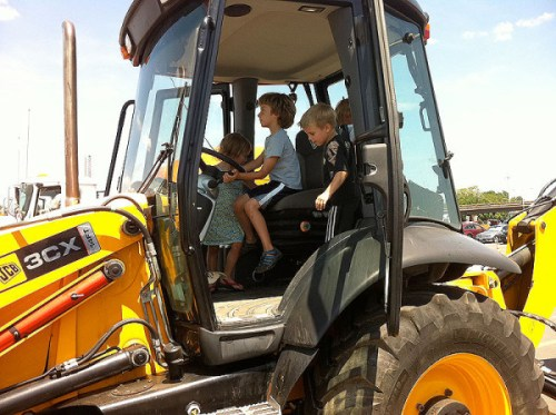 Kids dig Truck Touch: Taking the wheel of a backhoe last year