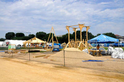 """Festival preparations include the construction of several wooden stuctures for """"Hungarian Heritage."""""""