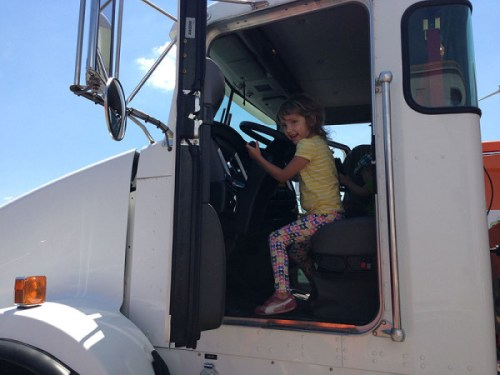 Taking the wheel of a big rig at last year's Truck Touch