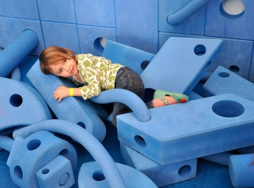 Getting cozy at the National Building Museum's PLAY WORK BUILD exhibit