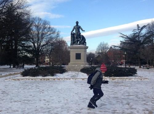 A winter walk to school