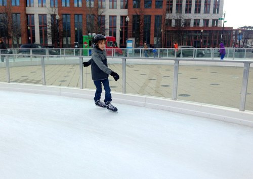 Skating in the city at Canal Park