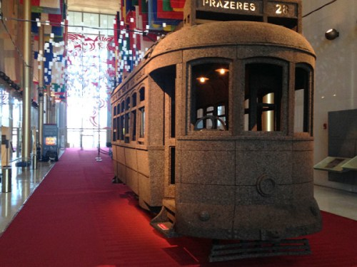 A cable car made entirely of cork
