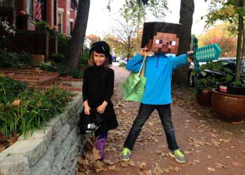 d90bae767e8 Halloween kitty and Minecraft Steve haunt the neighborhood last year