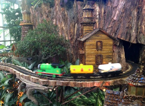 Trains whiz around the delightful display  - made of plant materials! - at the US Botanic Garden