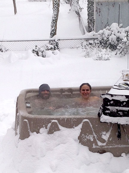 """Au Pair Life"" (Our au pair was watching our kids while we enjoyed the hot tub during the blizzard.) by Vanessa Brown"