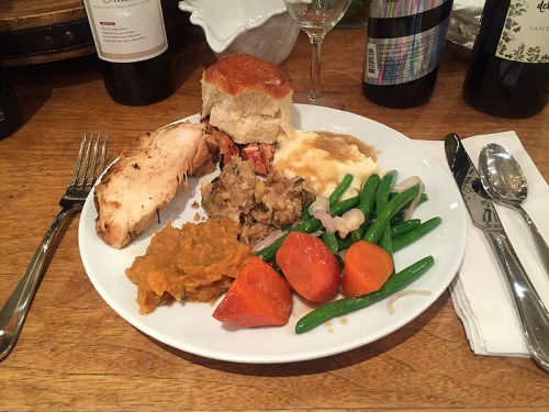 The first of my two big plates of the Traditional Turkey Dinner