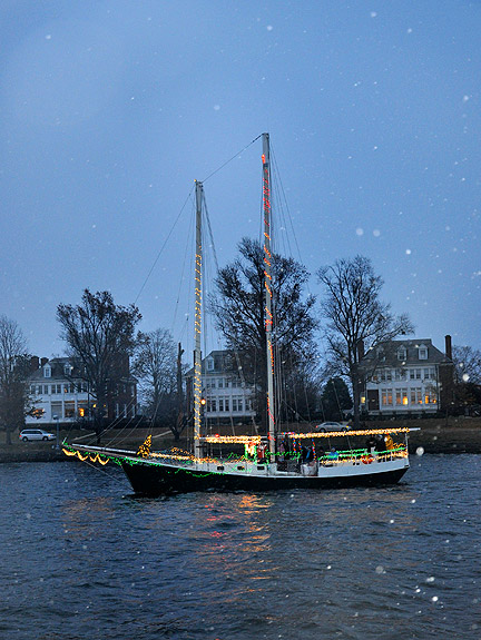 Scene from a past (snowy) Boat Parade of Lights