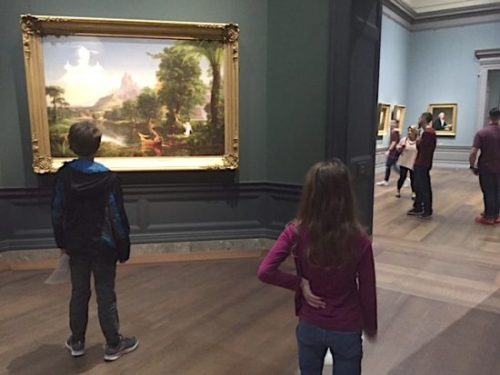 Exploring the galleries armed with clues