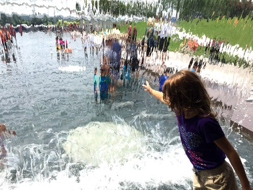 Behind the waterfall at Yards Park