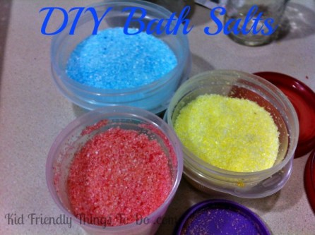 DIY Bath Salt Craft - A great gift for kids to make. It looks like layered sand art! Perfect for Mother's Day!