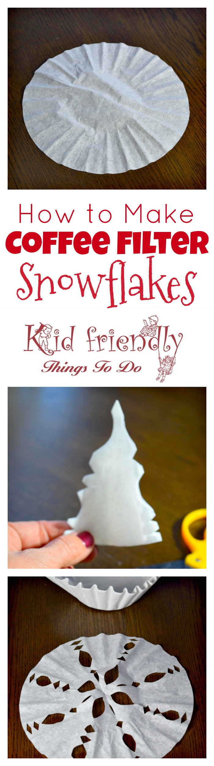 How To Make A Snowflake Out Of A Coffee Filter Craft Kid