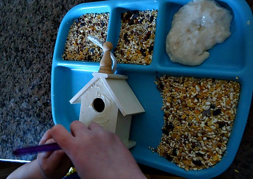 Edible Bird Seed Glue To Decorate Bird Houses