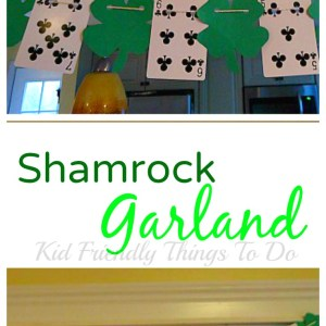 Easy Shamrock St. Patrick's Day Garland that can be made from the Dollar Tree supplies - KidFriendlyThingsTodo.com