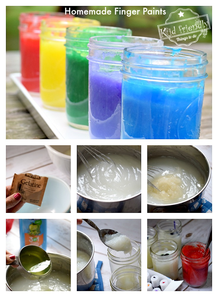 Easy DIY Homemade Finger Paints for kids to have fun with. Perfect craft recipe for summer fun, boredom buster, winter craft, or anytime at all! www.kidfriendlythingstodo.com