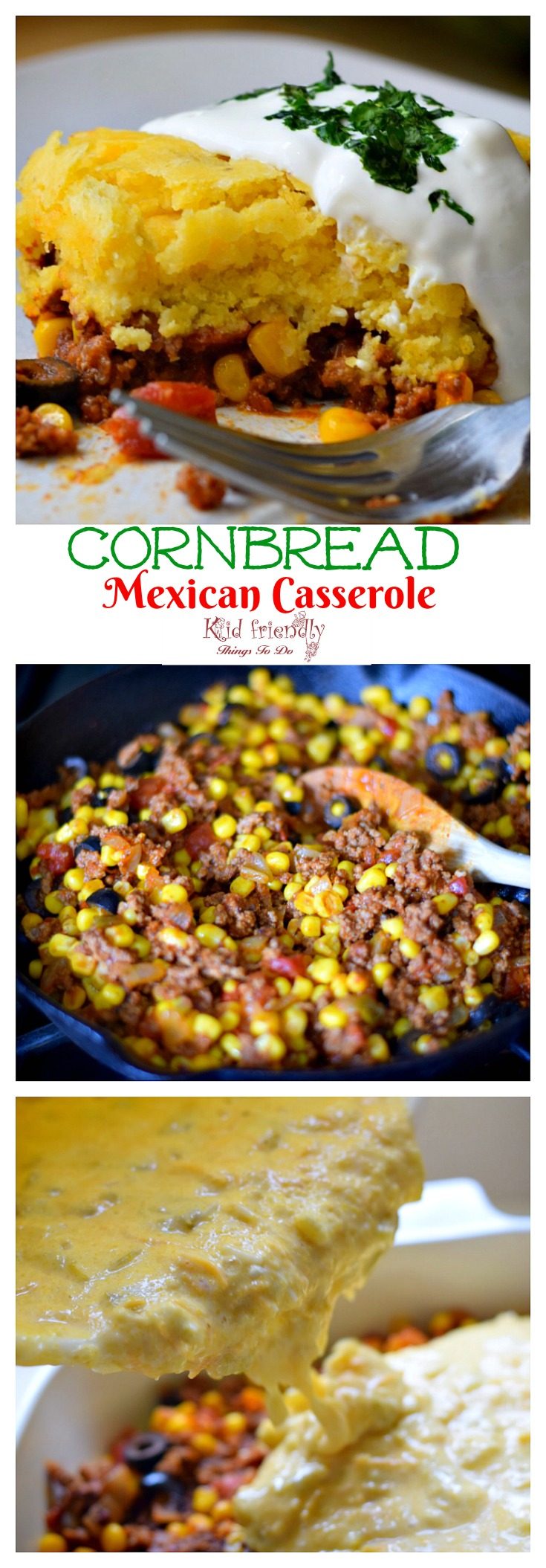Cornbread and Ground Beef Mexican Casserole Recipe - easy and delicious. Perfect for Cinco De Mayo or family dinner - www.kidfriendlythingstodo.com