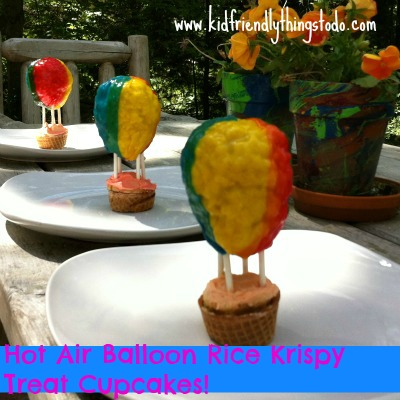 Rice Krispy Treat Hot Air Balloon Cupcakes