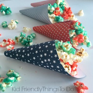 Jello Popcorn is delicious and fun - You can use patriotic colors for Fourth of July, Memorial Day, and Labor Day fun foods - KidFriendlyThingsToDo.com