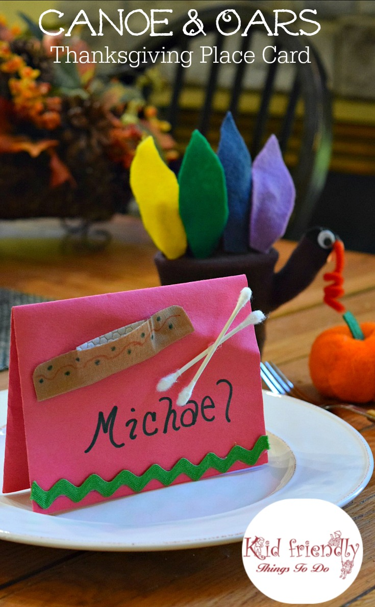 Thanksgiving Canoe and Oar Craft and Table Decoration. Perfect place card idea! www.kidfriendlythingstodo.com