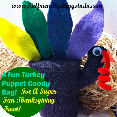 Learn How To Turn A Mitten Into A Turkey Hand Puppet, and Slip It Over A Paper Cup Filled With Treats For A Fun Thanksgiving Surprise! The Possibilities Are Endless!