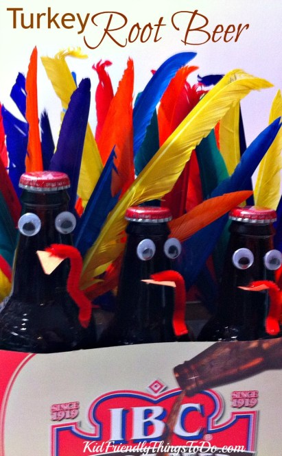 These Turkey Root Beer are so much fun for the kids at Thanksgiving! Great craft, and decoration for the table! - KidFriendlyThingsToDo.com