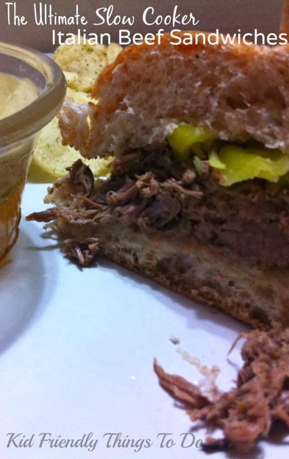 The best Slow Cooker Italian Beef Sandwich. KidFriendlyThingsToDo.com