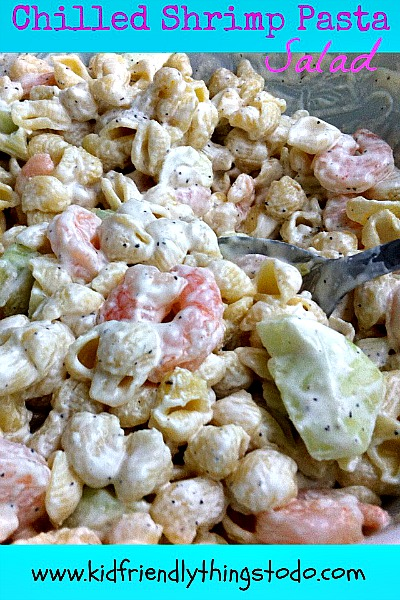 Chilled Shrimp Pasta Salad. Would be perfect for a side dish to summer picnics, or a main meal as a salad! Yum!