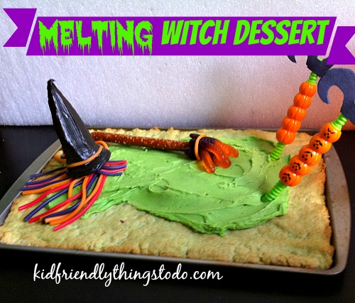 Cool ideas! Witch broom out of gummy worms! Colorful licorice witch hair, and Dollar Tree straws for legs! Fun Melting Witch dessert!