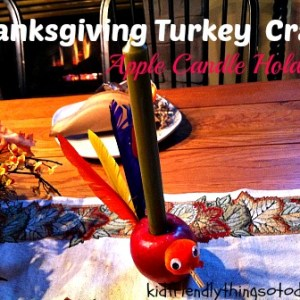 What a fun and cute Thanksgiving candle holder made out of an apple for the kid's or adult table! I love it!