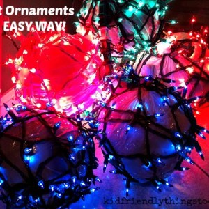Forget molding chicken wire! Just grab balls out of the garage, and a few other supplies...Voila' Giant Holiday Ornaments Made Easy!