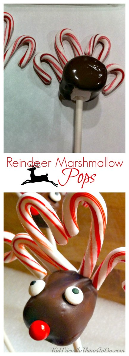 Reindeer Marshmallow Lollipops with Candy Cane Antlers - KidFrienldyThingsToDo.com