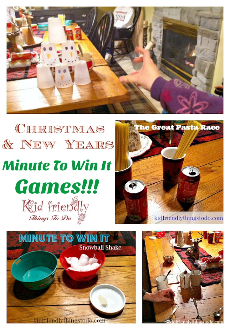 Our Minute To Win It Game Night - With A New Year, & Winter Theme